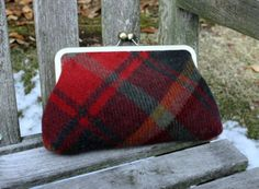 Red Scottish Wool Kisslock Clutch by GabbyGirlBags on Etsy, $55.00
