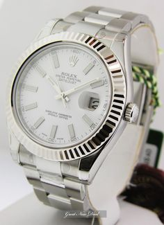 New Rolex Datejust II 41mm Large Mens White Stick Dial Steel 116334 WIO | eBay