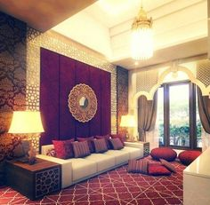 Luxury exotic living room. That purple wall with the medallion mirror.