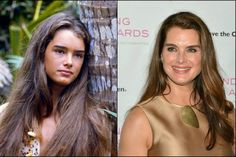 Brooke Shields fez 50 anos em 2015 (Foto: Reprodução e Getty Images) Celebrities Then And Now, Young Celebrities, Celebs, Brooke Shields Now, Blue Lagoon Movie, Then And Now Pictures, The Third Person, Friends Moments, Front Hair Styles