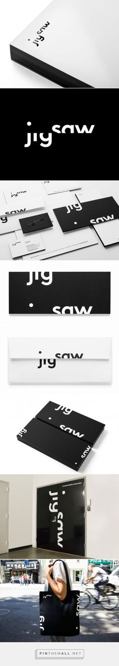 Jigsaw | New at Pentagram curated by Packaging Diva PD double wow #packaging #branding in black and white created via http://new.pentagram.com/2014/03/new-work-jigsaw/