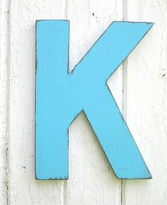 Wooden letters K 12 inch wall art Bimini Blue Shabby chic by LettersofWood on Etsy