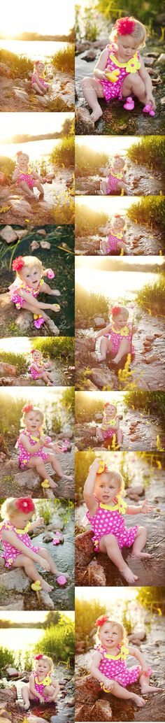 Modern Outdoor Water First Birthday Session // Pink Rubber Duckies
