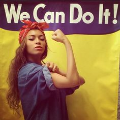 Beyoncé does Rosie the Riveter [Click on this image to find a video and analysis of Beyoncé's feminism: http://www.thesociologicalcinema.com/videos/beyonce-as-jezebel-when-does-oppression-resemble-liberation]