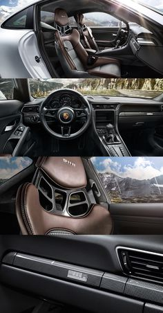 The interior of the new #911R: full bucket seats with Pepita houndstooth pattern, sixties-style instruments, 911 R logo on rev counter, and sports steering wheel with top centre marking. Learn more: http://link.porsche.com/911R-pin-gallery *Combined fuel consumption in accordance with EU 6: 13,3 l/100 km; CO2 emissions: 308 g/km.