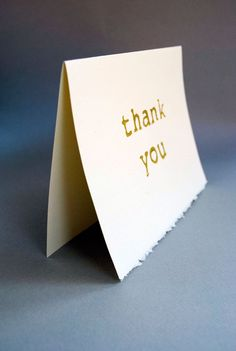 Gold Thank You Card  Typewriter Font Blank Card  by CursiveArts
