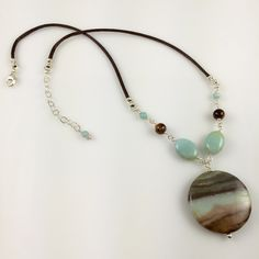 Amazonite, Tigereye & Sterling Silver Chain Link Necklace