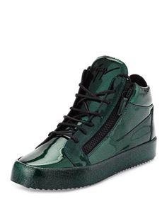 Men\'s Glitter Leather Mid-Top Sneaker, Green by Giuseppe Zanotti at Neiman Marcus.
