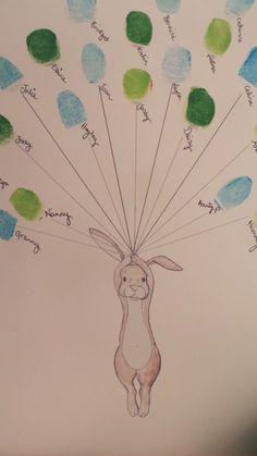 Baby shower Keepsake art, Rabbit holding thumb/fingerprint balloons, Baby shower activity, nursery a Bunny Nursery, Nursery Art, Souvenirs Ideas, Baby Dekor, Selling Handmade Items, Baby Footprints, Baby Shower Activities, Baby Shower Balloons, Custom Art