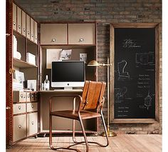 Love the chalkboard and the chair!
