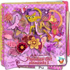 """collection """"Paradise Art"""" pour la nouvelle rubrique de la boutique Paradise Scrap """"kit Journal Art""""  partie de Kastagnette - prix exceptionnel de 1 euros"""