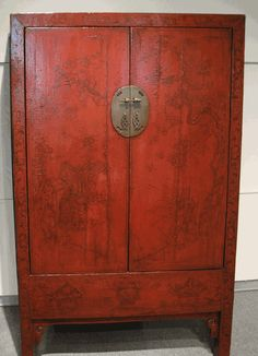 Antique Asian Furniture: Red Lacquered Cabinet Armoire from Shanxi Province, China