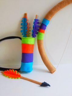 Kids Indian Dress Up Set - Kids Felt Bow Arrow Headband and Quiver Pretend Play Toys. $36.00, via Etsy.
