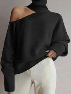 Mode Chic, Mode Style, Mode Outfits, Fashion Outfits, Style Fashion, Ladies Fashion, Cold Shoulder Sweater, High Collar, Gender Female