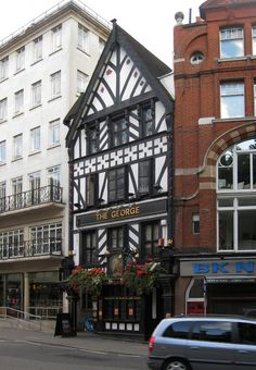 The George Pub on Fleet Street is the only wooden building to survive the Great Fire of London in 1666.