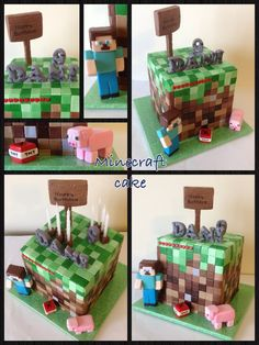 Great combo of elements Minecraft Cake, Minecraft Party, Cake Cookies, Cupcake Cakes, Video Game Cakes, Novelty Cakes, Cakes For Boys, Creative Cakes, Themed Cakes