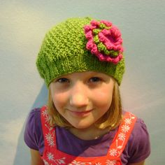 Girls Beanie Hat in Green & Strawberry Pink with Flower Brooch Size Medium £15.50