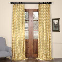 Aurora Home Doodle Print Room Darkening Grommet Top Curtain Panel Pair 96 Inch Sunshine Yellow Polyester Geometric