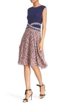 NEW! DVF Diane Von Furstenberg 'Rosalie' Mixed Media Fit & Flare Dress SZ 0