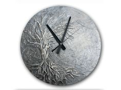 Large Wall Clock, Tree of Life Home Decor, Silver wall Clock, Modern WALL CLOCK, Unique wall clock, Tree of Life Painting art wall clock, office decor, office wall clock, 15.7 inch (40 cm) diameter   My hobbys wall clock making. Since the possibilities are endless and only your imagination can limit an excellent unique gifts for all ages, any occasion!  If you want this beautiful clock in a different colors, please let me know and send message to me. :)  100% hand made. This clock has been…