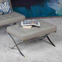 Studio Designs Home Atrium Black/ /Chrome/Steel Ottoman