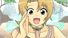 "An anime style drawing of Illia from Twilight Princess.  So cute!  She's shouting, ""Hey Link!"""
