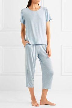 DKNY - Blue Note Cropped Stretch-modal Pants - Light blue - x small