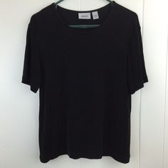 Chico's Travelers 2 Top Short Sleeve Black Slinky Knit Blouse M L 12 14 USA Made #Chicos #KnitTop #Casual