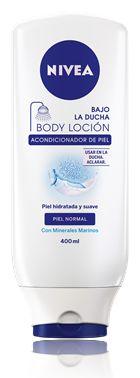 Bajo la Ducha Body Loción, el primer Acondicionador de piel de NIVEA. Un producto hidratante corporal con Minerales Marinos para piel normal que deja al instante la piel suave y sedosa.