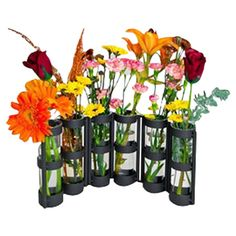Six-tube recycled glass vase in a hinged iron stand. Product: Vase     Construction Material: Recycled glass