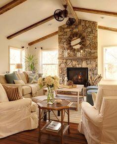 Rustic Sunroom - Farmhouse - Living Room - charlotte - by Ally Whalen Design Coastal Living Rooms, Home Living Room, Living Room Designs, Living Room Decor, Cozy Living, Dining Room, Small Living, Living Spaces, Rustic Sunroom