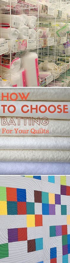 Sewing Projects Free Tutorial: How To Choose Batting For Your Quilts - From cotton batting to polyester blends, the batting choices available to quilters are vast. Learn more about your options for choosing quilt batting. Quilting 101, Quilting Tools, Quilting For Beginners, Quilting Tutorials, Machine Quilting, Quilting Projects, Quilting Designs, Sewing Projects, Quilting Ideas