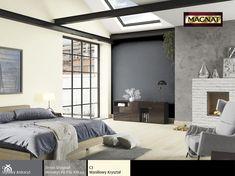 kremowa ściana, szara ściana, podłoga z jasnego drewna, ceglany kominek, szary fotel