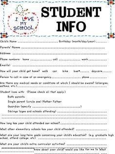 Tuesday teacher tips documentation education pinterest student information sheet maxwellsz