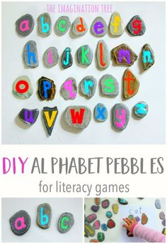 DIY Alphabet Pebbles for Literacy Play! A fun idea for working on the alphabet this summer! Great for outside play with preschoolers and kindergartners! Preschool Literacy, Literacy Activities, Preschool Activities, Early Literacy, Beach Activities, Nature Activities, Pre Kindergarten, Preschool Letters, Language Activities