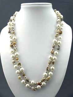 Pearl & shell double strand necklace