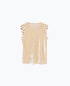 Image 6 de T-SHIRT EN SIMILIVELOURS de Zara