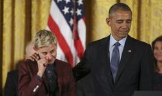 Ellen DeGeneres Wipes Away Tears As Obama Lauds Her For Breaking Barriers   The Huffington Post