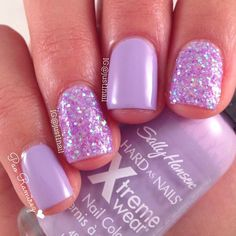 Cute Nail Designs For Spring – Your Beautiful Nails Love Nails, Fun Nails, Prom Nails, Light Purple Nails, Purple Sparkle, Lilac Nails With Glitter, Glitter Nails, Sparkle Nails, Sally Nails