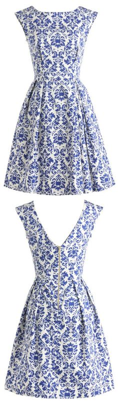 Blue And White Porcelain Inspired Skater Dress.Check more from www.oasap.com .