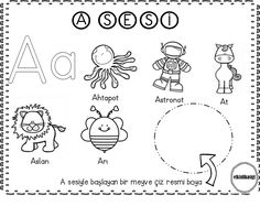 a sesi Alphabet Worksheets, Alphabet Activities, Classroom Activities, Preschool Printables, Kindergarten Worksheets, Learn Turkish, Turkish Language, Book Corners, Mandala
