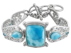 Square Cushion And Pear Shape Larimar With .49ctw Round Swiss Blue Topaz Sterling Silver Bracelet