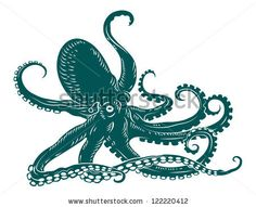 Wild ocean octopus with tentacles for sea life design. Jpeg version also available in gallery by Seamartini Graphics, via ShutterStock