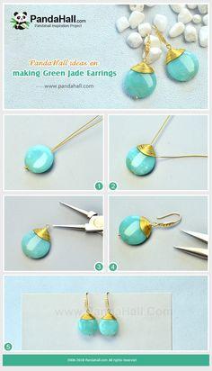 ideas for making green jade earrings # . - Ideas for making green jade earrings # … - Wire Wrapped Jewelry, Wire Jewelry, Jewelry Crafts, Beaded Jewelry, Jewelry Ideas, Pandora Jewelry, Jewelry Trends, Bead Jewellery, Crystal Jewelry