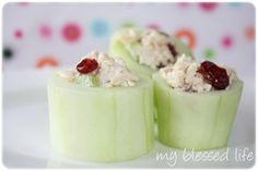 Ok. I need to do this on Mondays and just keep them in some tupperware in the fridge for the week. Quick, healthy snack to grab... Chicken Salad filled cucumbers! YUM!