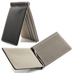 New Saffiano Leather Men s Slim Wallet Money Clip Credit Card Holder Gray