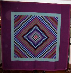"Amish sunshine and shadow quilt, $4,900. Made in Lancaster County, Pennsylvania, in the 1930s. 81"" x 80"". In excellent condition with no issues."