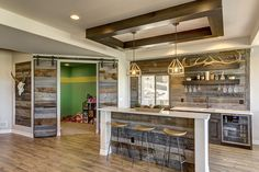Installing a bar in your home is a great way to make sure that when you have company over everybody has a fun place to spend time together. A dedicated bar Rustic Basement Bar, Basement Bar Plans, Basement Bar Designs, Man Cave Basement, Basement Bedrooms, Basement Renovations, Basement Ideas, Basement Stairs, Basement Bathroom