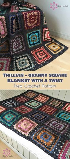 Trillian - Granny Square Blanket with a Twist [Free Crochet Pattern] Granny Square Crochet Pattern, Afghan Crochet Patterns, Crochet Squares, Crochet Granny, Diy Crochet And Knitting, Free Crochet, Sock Knitting, Sock Yarn, Crochet Ideas