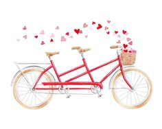 Red Tandem Bicycle Watercolor Fine Art Print Valentine's